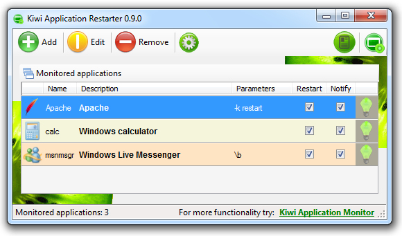 Kiwi Application Restarter Screenshot
