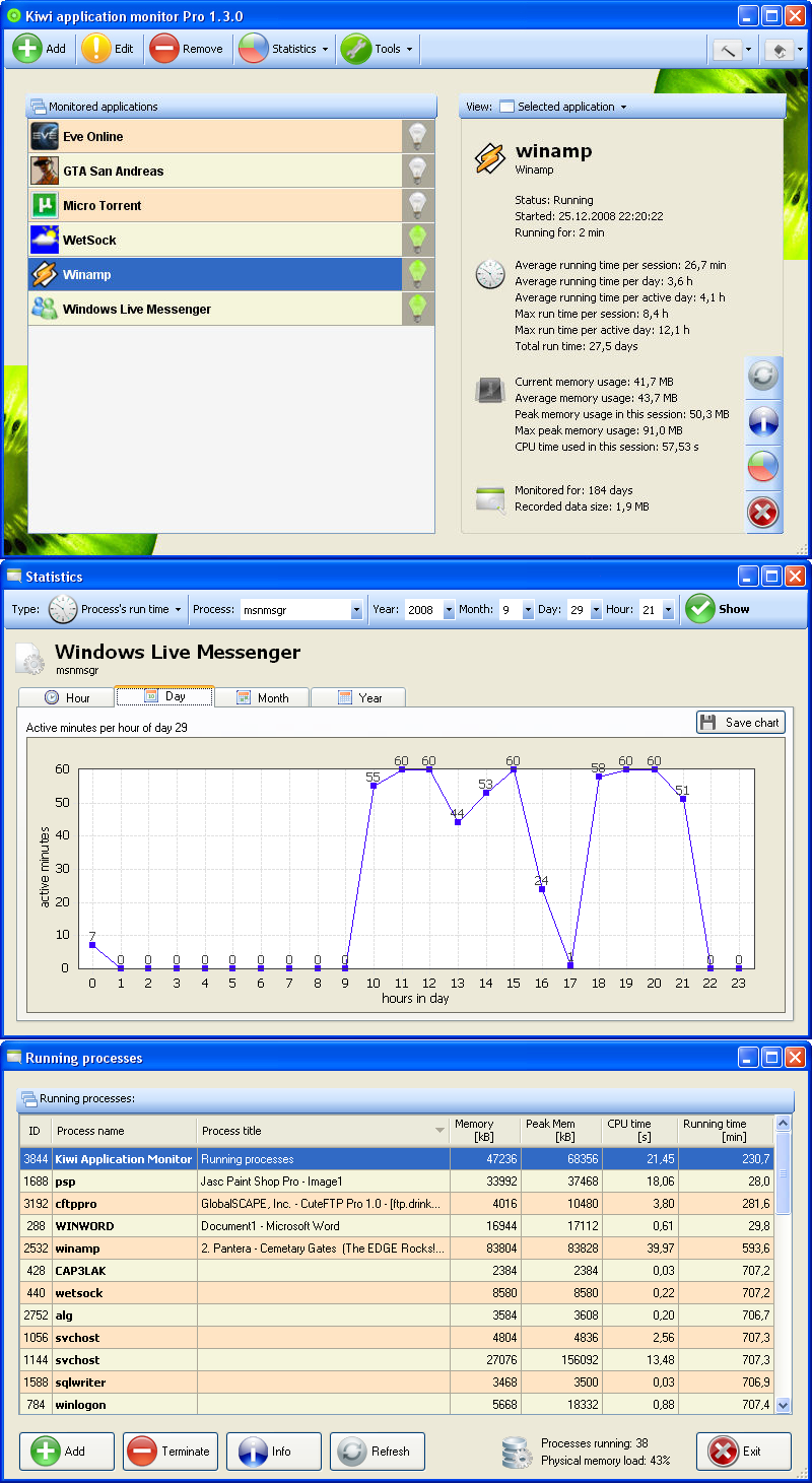 Kiwi Application Monitor full screenshot